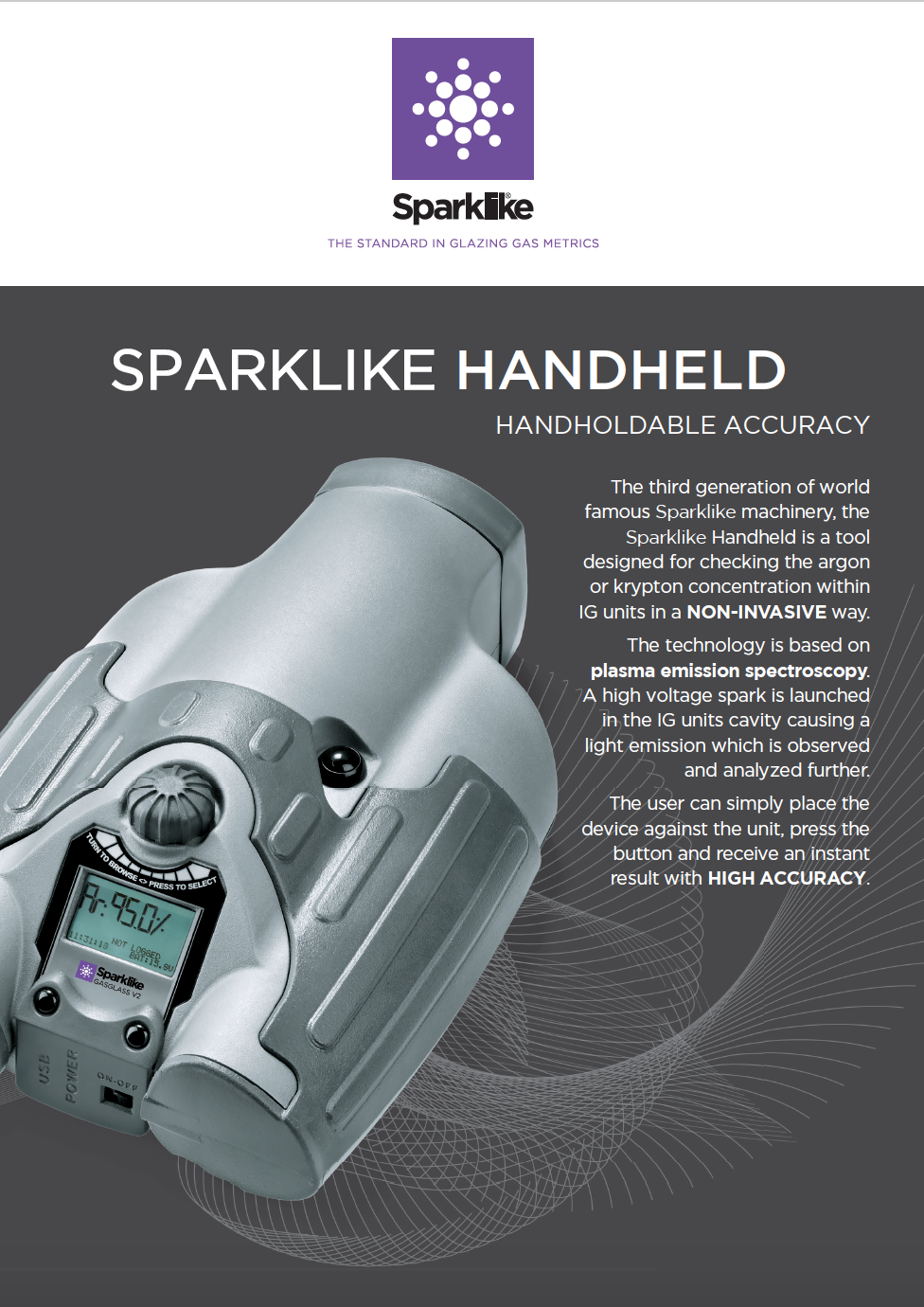 Sparklike Handheld for non-destructive argon gas fill analysis for double glazed insulating glass units