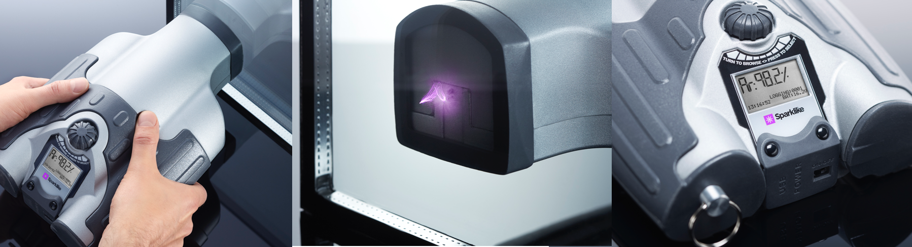 Sparklike Handheld for non-destructive insulating glass gas fill analysis for standard double glazed IGU's