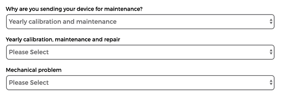 Fill in the form for annual on-demand calibration and maintenance and tell why you are sending your device to us